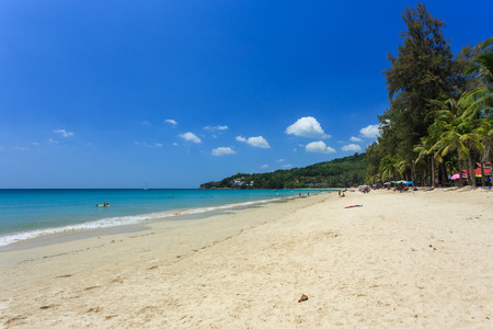 phuket province: Phuket, Thailand - 28 March, 2015: Unidentified tourist enjoy on the beach and crystal clear water at Kamala Beach, Phuket province Thailand.