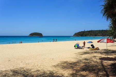 phuket province: Phuket, Thailand - 30 March, 2015: Unidentified tourist enjoy on the beach and crystal clear water at Kata Beach, Phuket province Thailand. Editorial