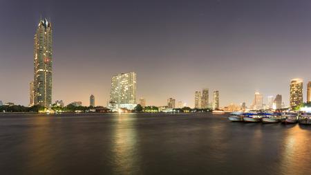 phraya: Chao Phraya River at Night Stock Photo