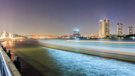 chao: Chao Phraya River at Night Stock Photo