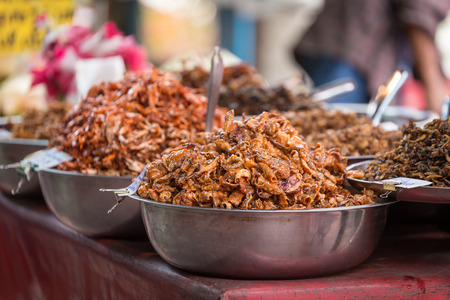 amphawa: Sweet squid Fried at Amphawa market, Thailand Stock Photo