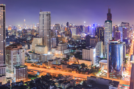cityscape: Bangkok cityscape at night, view from high building