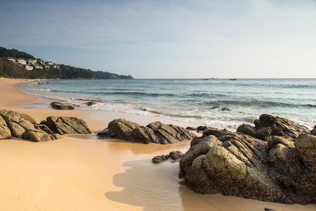 phuket province: Phuket, Thailand - 25 March, 2015: Unidentified tourist enjoy on the beach and crystal clear water at Nai Thon Beach, Phuket province Thailand. Stock Photo