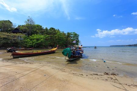 phuket province: Phuket, Thailand - 28 March, 2015: Unidentified fisherman boats at Kamala Beach, Phuket province Thailand. Editorial