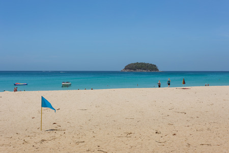 kata: : Unidentified tourist enjoy on the beach and crystal clear water at Kata Beach Phuket province Thailand.