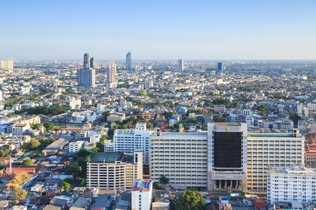 significant: Bangkok Thailand  April 18 2015: Sathron in the evening one of the most significant business areas in Thailand. Its located on the Bangkok downtown.
