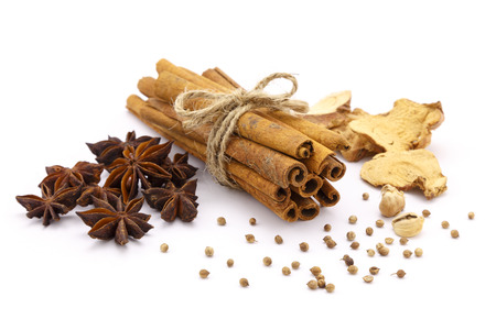 Five spices on the white background
