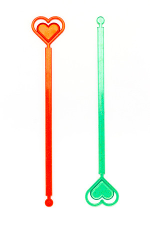 drinks on bar: Cocktail Stirrer on the white background Stock Photo