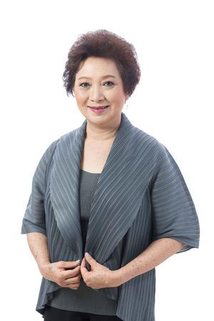 Portrait of Asian senior woman isolated on white