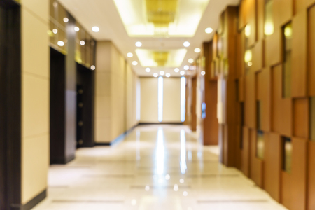 corridor: Abstract background of hotel interior, shallow depth and blurry focus. Stock Photo