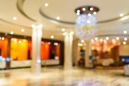 Abstract background of hotel interior, shallow depth and blurry focus