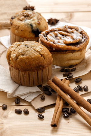 bean bag: Testy Muffins and Cinnamon roll from the bakery Stock Photo