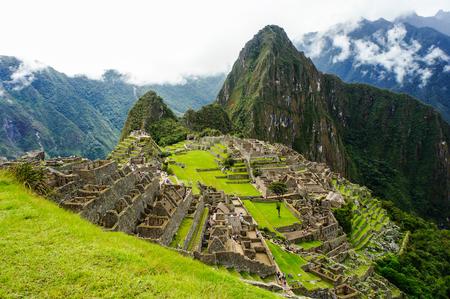 Machu Picchu, een van de nieuwe zeven wonderen van de Wereld in Peru, UNESCO kondigde het aan de World Heritage Site in 1983. Stockfoto