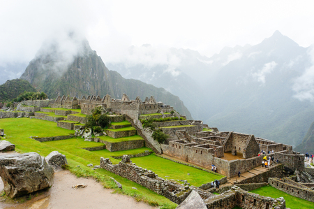 history background: Machu Picchu, One of the New Seven Wonders of the World in Peru,  Stock Photo