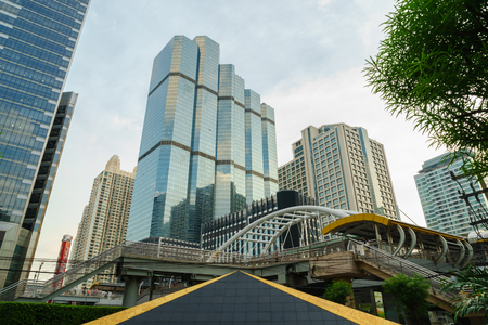 significant: Bangkok, Thailand - October 16, 2015: Chong Nonsi Skywalk in Sathorn Business District, one of the most significant business areas in Thailand. Its located on the Bangkok downtown.