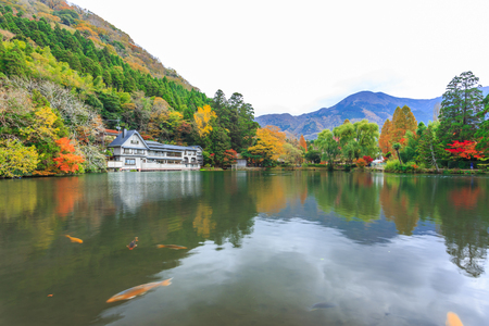 natural landmark: Yufuin is a popular Onsen resort in Kyushu, Japan. Lake Kinrinko is another natural landmark of Yufuin besides Yufu Mountain. Stock Photo