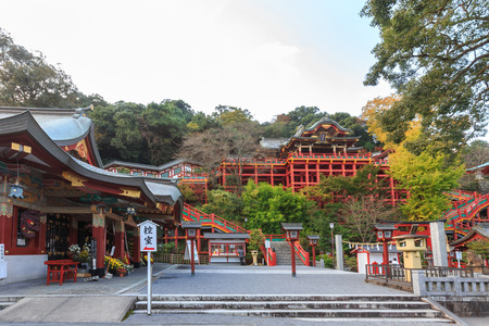autumn splendor: Kyushu, Japan - November 10, 2015: Yutoku Inari-jinja is one of the largest shrines sacred to the god of business prosperity in Japan which was built in 1687. It is located in the city of Kashima.