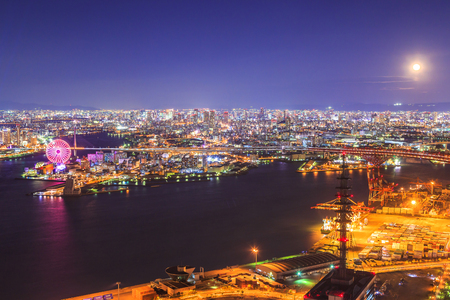 Osaka view at night from Cosmo tower, Japan