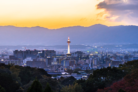 Kyoto Tower and cityscape at the sunset
