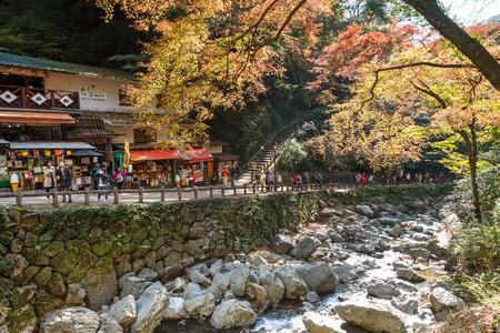quasi: Osaka, Japan - November 27, 2015: Mino waterfall in Mino Quasi-national Park in Osaka, tourists enjoy to take photo with the waterfall in the autumn season. Editorial