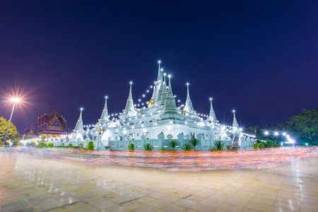 come in: Buddhist in Thailand come pray in Magha Puja Day at Asokaram Temple, Samutprakarn Province, Thailand