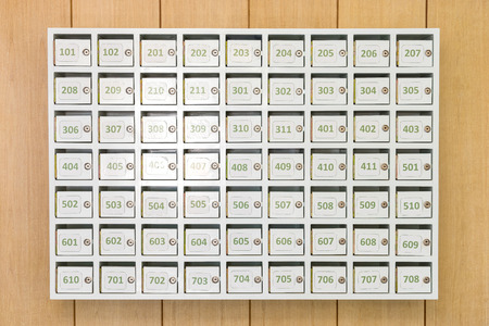 White mailboxes on the wood background