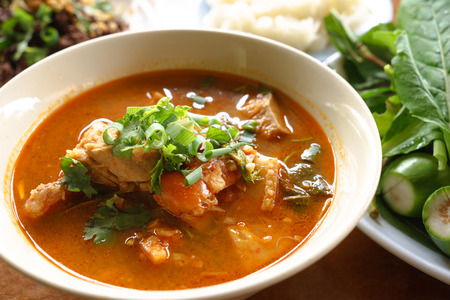 Young jackfruit spicy soup with pork, traditional Northern Thai food Stock Photo