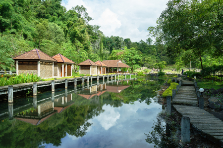 fang: Chiang Mai, Thailand - 28 August, 2016: Fang hot spring is one of the most famous hot spring in Thailand which located in Doi Pha Hom Pok National Park. Its temperature between 90 and 100 Celsius. The thermal power plant located here and it also provide