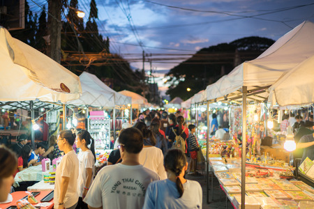 architectural lighting design: Chiang Rai, Thailand - September 3, 2016 : Chiang Rai walking street market is the popular shopping area for local and tourist. People can buy souvenirs, food, clothes and etc. It is located in the center of the city and open in the evening weekend. Editorial