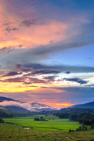 chan: Sunset at Mae Chan, Chiang Rai Province, Thailand