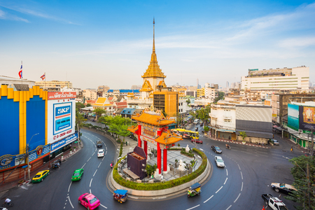 Bangkok, Thailand - January 30, 2017 : The Odeon Circle or Gateway Arch and the Golden Buddha Temple at Bangkok Chinatown, Thailand. It was built in 1999 for commemorating to the King Rama IX birthday.