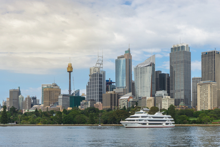 nsw: Sydney, Australia - February 19 2017: View of the Sydney Harbor and cityscape.