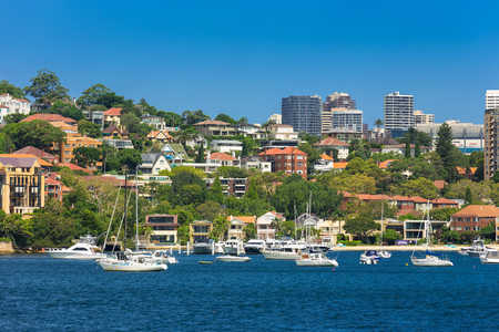 wales: Sydney, Australia - February 19, 2017: View of the Sydney Harbor and cityscape. Editorial