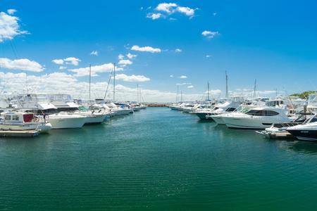 Sydney, Australia - February 22, 2017: Yachts and motor boats at Port Stephens, Nelson Bay, Australia.