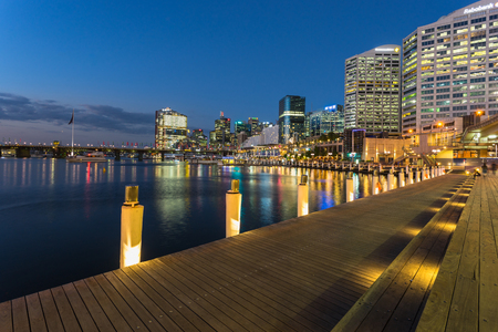 Sydney, Australia - February 23, 2017: View of Pyrmont Bay in Darling Harbour.