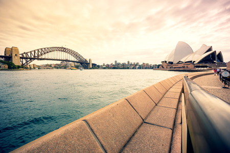 Sydney, Australia - February 19, 2017: View of the Sydney Harbor and cityscape. Stock Photo