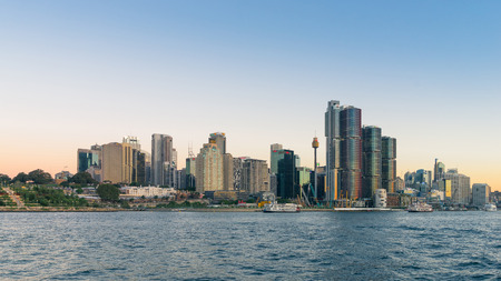 Sydney, Australia - February 20, 2017: View of the Sydney Harbor and cityscape.