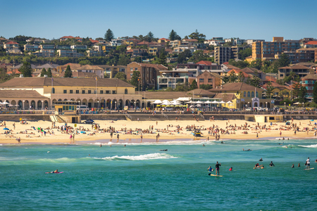 wales: Sydney, Australia - February 20, 2017: View of the Bondi Beach in Sydney Australia Editorial