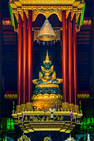 Chiang Rai, Thailand - October 22, 2017: Wat Pra Kaew or The Temple of the Emerald Buddha. In 1434 people founded the Emerald Buddha in the pagoda renovation but nobody know, when it was created. Editorial