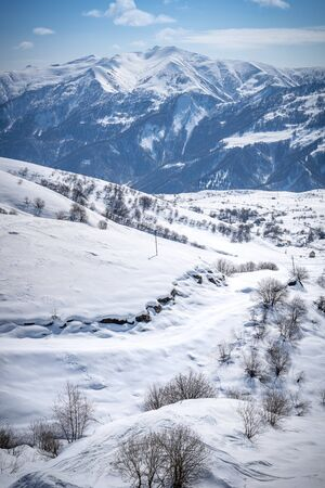 Caucasus mountain and ski resort in Gudauri, Georgia.