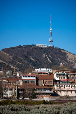 Tbilisi, Georgia - Mar 4, 2019: View of Tbilisi city in the morning.