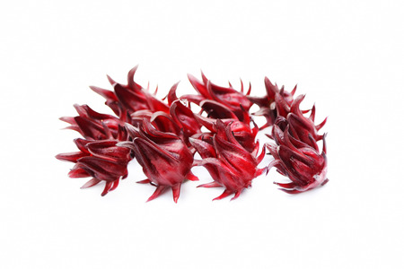 Fresh roselles (Hibiscus sabdariffa) isolated on white background.