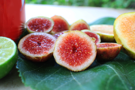 Ripe fig fruit,with red berry pulp, ready to eat. Stok Fotoğraf