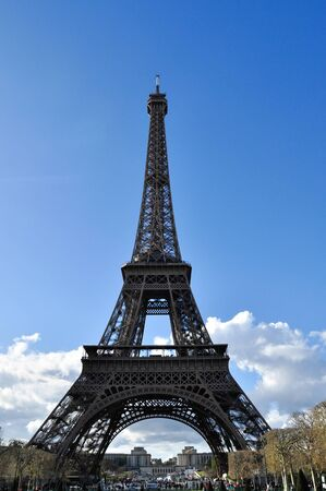 The Eiffel tower is a famous attraction landmark of the world in Paris of France that it is a  fascinating and romancing place to be destination for travelling and visiting of honeymoon couple Stock Photo