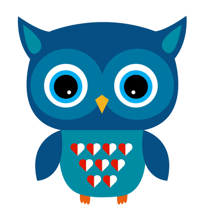 sumer: Cute Vector Owl Boy with Heart Illustration