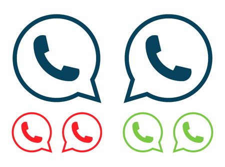 centers: Vector modern phone icon set in speech bubble