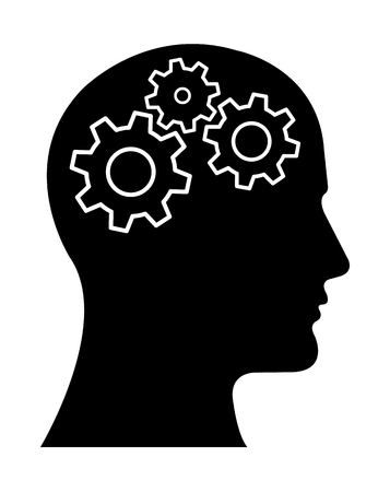 Gear Head Man Profile Thinking about Vektorové ilustrace