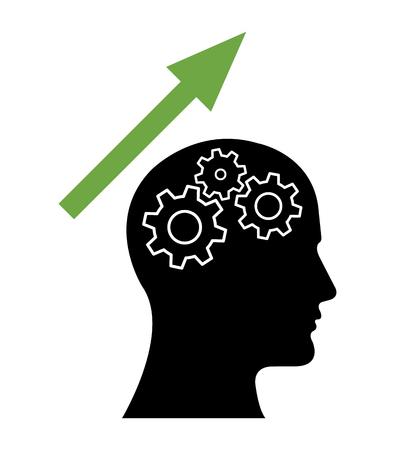 Gear Head Man Profile Thinking about Increase. Vektorové ilustrace