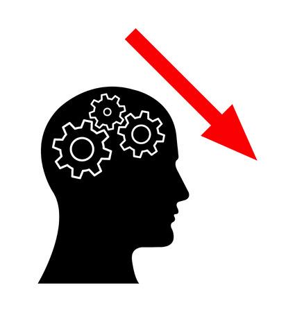 Gear Head Man Profile Thinking about Decrease. Vektorové ilustrace