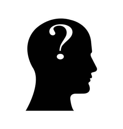 Question Mark icon business with male face. Vektorové ilustrace